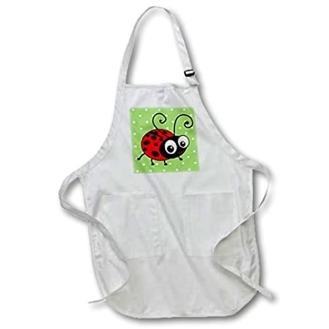 3dRose InspirationzStore Cute Animals Full Length Apron with Pockets 22w x 30l apr/_113183/_1 kawaii happy red and black spots ladybird cartoon lady bug Cute ladybug green polka dot design