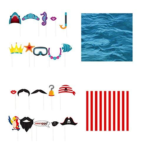 Mermaid and Pirate Party Supplies - Mermaid and Pirate Photo Booth Props with Red Stripe Backdrop and Ocean Under The Sea Backdrop