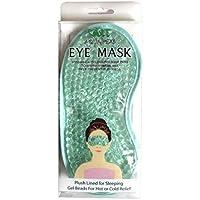NT Aqua Peas ögonmask – återanvändbar ögonmask – plyschfodrad för sovande gelpärlor för varm eller kall lindring (blå)