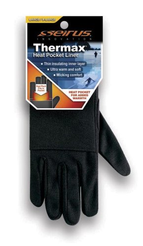 [Seirus Innovation 2115 Deluxe Thermax Winter Cold Weather Glove Liner with Heat Pocket, Junior] (Deluxe Black Polyester Gloves)