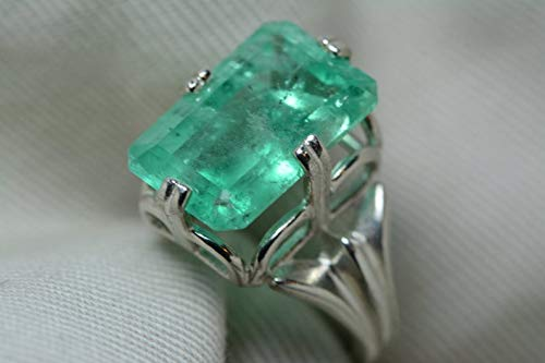 - Certified 8.12 Carat Emerald Ring, Colombian Emerald Solitaire, Sterling Silver Genuine Real Natural Emerald Cut May Birthstone Jewelry er19