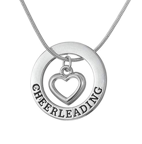 cooltime Silver Cheerleading Heart Pendant Necklace for Sporty Girls 18' Silver Snake Chain