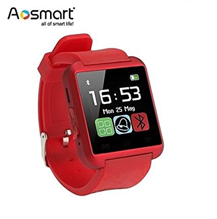 Bluetooth Smart Watch, Aosmart U8 Smartwatch for Android Smartphones - Red