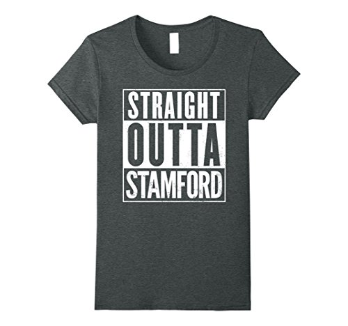 Womens Straight Outta STAMFORD Funny T-Shirt Medium Dark (Party City Stamford)