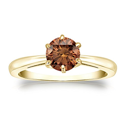 14k Yellow Gold 6-Prong Round-cut Brown Diamond Solitaire Ring (3/4 cttw, Brown, SI2-I1) Size 6