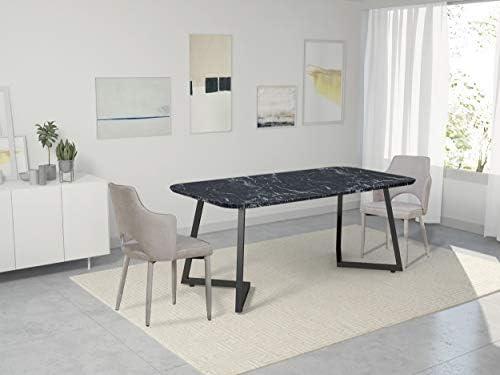 Homemania Chaise, métal, Tissu, Beige, 60 x 52 x 84 cm