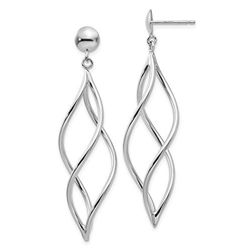 14k White Gold Swirl Drop Dangle Chandelier Post Stud Earrings Fine Jewelry Gifts For Women For Her ()