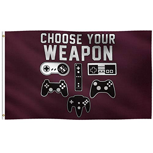 K-AXIS 3x5 Foot Choose Your Weapon Video Game Flag: 100% Polyester Banner, Strong Canvas Header with 2 Brass Grommets, UV Resistant Vibrant Digital Print, for Use Outdoor or Indoor (Maroon)