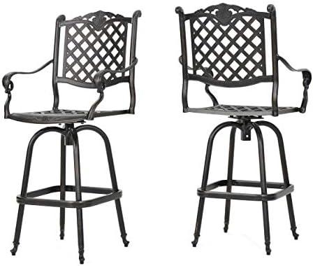 Christopher Knight Home Avon Outdoor Cast Aluminum Bar Stools - a good cheap outdoor bar stool