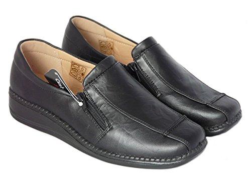 Zapatos de Mujer Mocasines Ligero, Cuero de Imitación, Zapatos Cómodo sin Cordones - con Doble Cremallera Negro