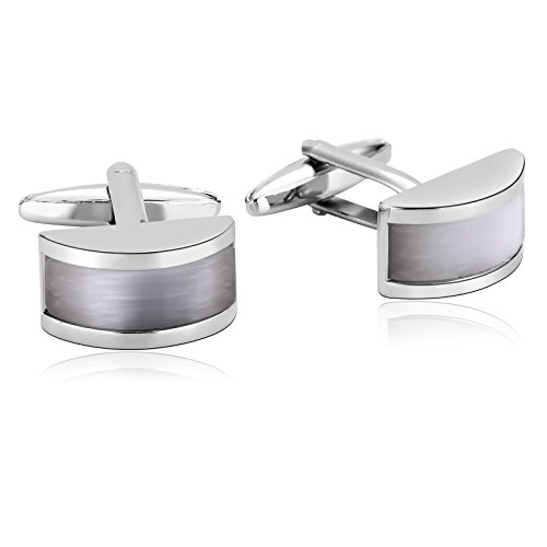 KnSam Stainless Steel Silver White Arch Rectangle Stone Inaid Cufflinks for - Gabbana And New Dolce York
