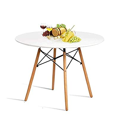"""Hyhome Kitchen Dining Table Round Coffee Table Modern Leisure Wood Tea Table Office Conference Pedestal Desk with Natural Wooden Legs and MDF top (White)... - 100% MONEY BACK - Any questions please CONTACT us in time, will surely HELP. So hit that """"Add to Cart"""" button now - Delivered right to your door! STRONG TABLE - MDF top that makes clean-up simple and quick, Wooden Imported table with beautiful and sturdy beech table legs + Wear resisting foot pad that prevent floor-scratches and noise. USAGE - Ideal primarily for the kitchen dining table, can also be used as deco-object, a coffee/tea table, living room table,office table,for the minimalist of small space apartment/studio, also ideal for Pump room with its relaxing feel. - kitchen-dining-room-furniture, kitchen-dining-room, kitchen-dining-room-tables - 41%2BYfrBncCL. SS400  -"""