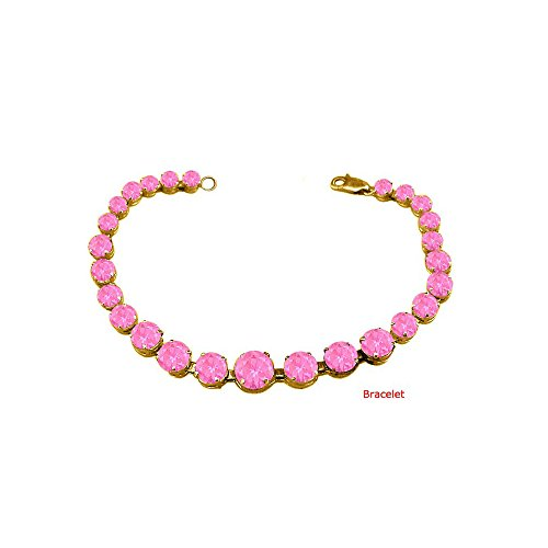 (September Birthstone Prong Set Created Pink Sapphire Bracelet in 18K Yellow Gold Vermeil Over St)