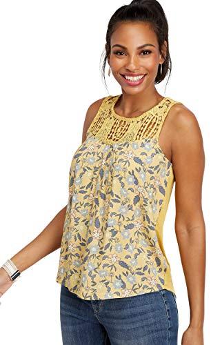 maurices Women's Floral Crocheted Yoke Tank Medium Flax Yellow