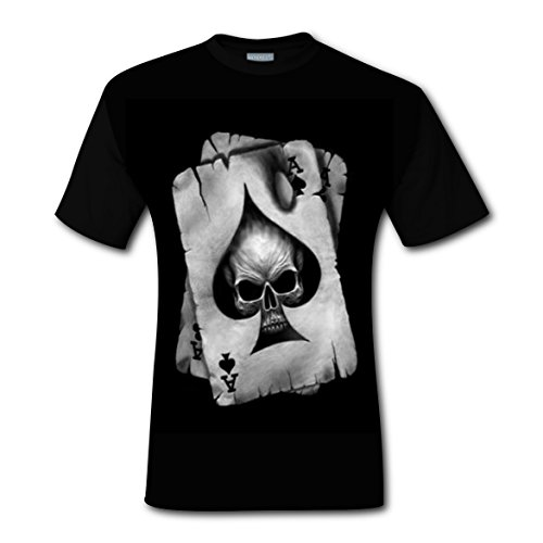 Men's Skull Poker Playing Cards T-Shirt Short Sleeves Tee Creative 3D Print - Naked Male Pics Black