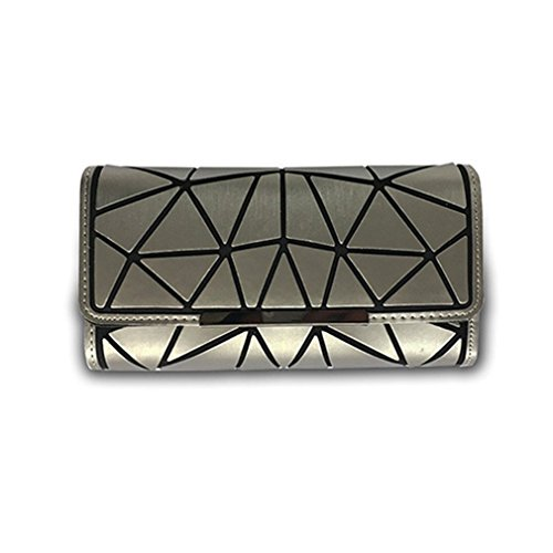 Betrocka Women Long Wallets,Diamond Lattice Long Purse Luminous Wallet silver 2 by Betrocka