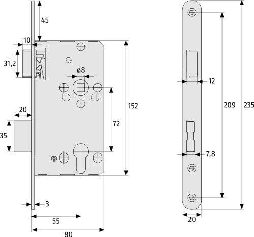 20811 ABUS T/ür-Einsteckschloss Profilzylinder TKZ20 f/ür DIN-rechts T/üren hammerschlag-gold