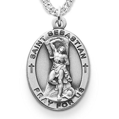 Sebastian Pendant Saint Medal (Sterling Silver Oval Saint Sebastian Patron of Athletes Medal, 7/8 Inch)