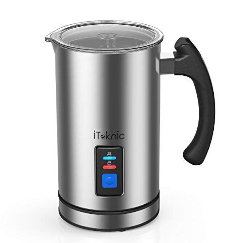 iTeknic Milk Frother, Electric Milk Steamer Stainless Steel, Automatic Foam Maker For Coffee, Latte, Cappuccino, Milk Foamer Warmer with Strix Temperature Controls, FDA Approved, Silent Operation