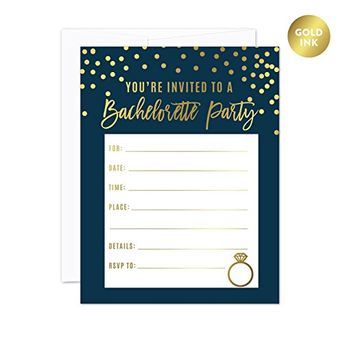 Andaz Press Navy Blue and Metallic Gold Confetti Polka Dots Bachelorette Party Bridal Shower Collection, Blank Bachelorette Invitations with Envelopes, 20-Pack