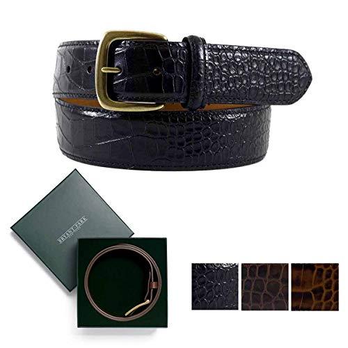 (BRYANT PARK Alligator Grain Glazed Genuine Leather Belt. 1.5