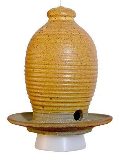 Beehive Hanging Bird Seed Feeder: Hand-thrown Weatherproof Stoneware Pottery, Butternut Color