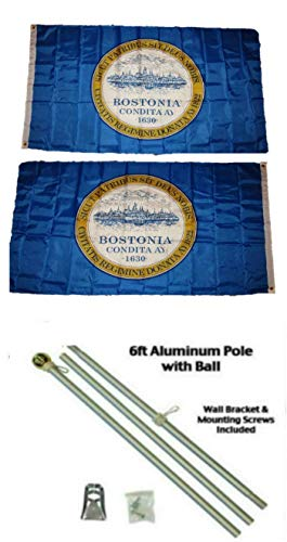 ALBATROS 3 ft x 5 ft City of Boston Massachusetts 2ply Flag Aluminum with Pole Kit Gold Ball Top for Home and Parades, Official Party, All Weather Indoors Outdoors