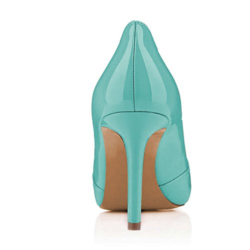Stilettos Toe Pumps Platform Peep Turquoise YDN Shoes High Slip Women Heel Party for on Summer ExwzqxpYX
