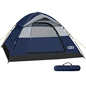 Pacific Pass Camping Tent 4 Person Family Dome Tent with Removable Rain Fly, Easy Set Up for Camp Backpacking Hiking Outdoor, Navy Blue