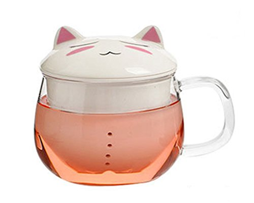 Amao 10oz Tea/Coffee Mug Cup & Clear Glass Saucer Best Teapot Tumbler Infuser (Glass)