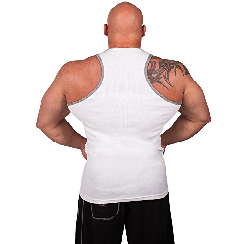 Rib Tank-Top S7 - Farbe: Weiß, Bodybuilding & Kraftsport + Trainings T-Shirt
