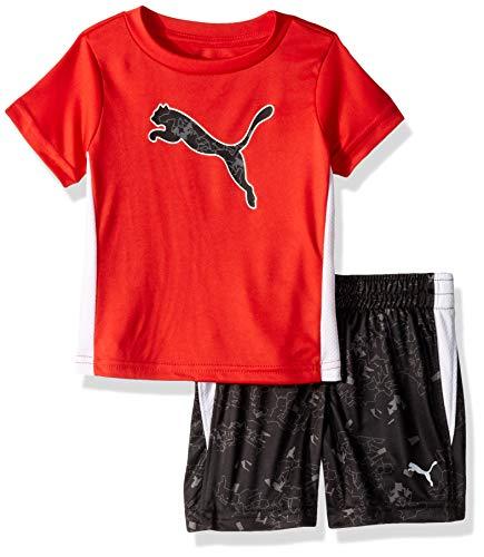 PUMA Baby Boys' T-Shirt & Short Set, High Risk Red, 12 Months