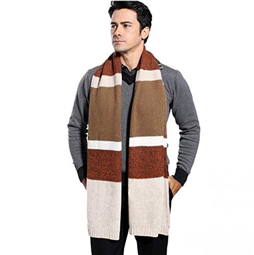 Winter Cashmere Scarf for Men, Color Block Stripe Wool Knit Fashion Long Scarves