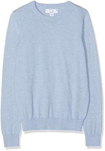 MERAKI Women's Cotton Crew Neck Sweater,  (Ocean Blue), S (US 4-6) ()