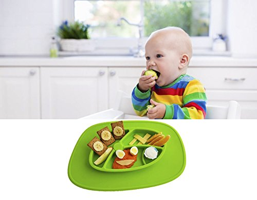 EZY ACTIVE - Non Slip Silicone Placemat Plate for kids - Green by EZY ACTIVE