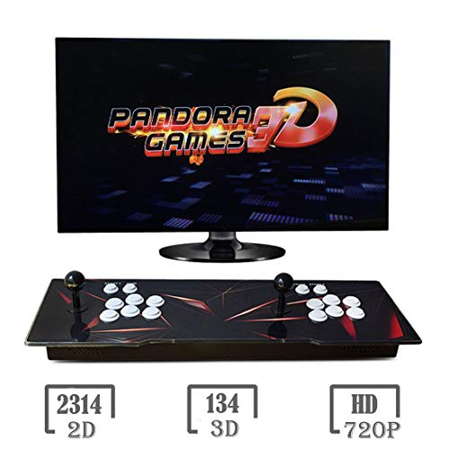 MYMIQEY 3D Pandora Key 7 Arcade Game Console - 2448 Games Installed, Support 3D Games, Add More Games, Search / Save Games Function, 1280x720P, Support 4 Players Online, HDMI/VGA/USB/AUX Audio Output
