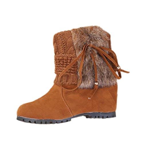 Kaicran Moda Donna Inverno Peluche Stivali Martin Scarpe Calde Stivali Da Neve Caviglia Marrone