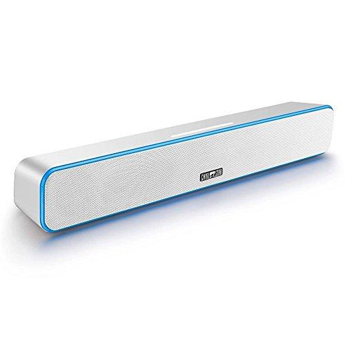 Chialstar Neueste Wireless 2.0 Kanal TV Real Sound Bar mit 12W Ultrabass in Surround-Stereo-Sound, Bluetooth-Lautsprecher, leistungsstarkem Heimkino Musik System, und FM-Radio, AUX, USB-Driver, Card-Reader mit Fernbedienung sind unterstützt Weiß