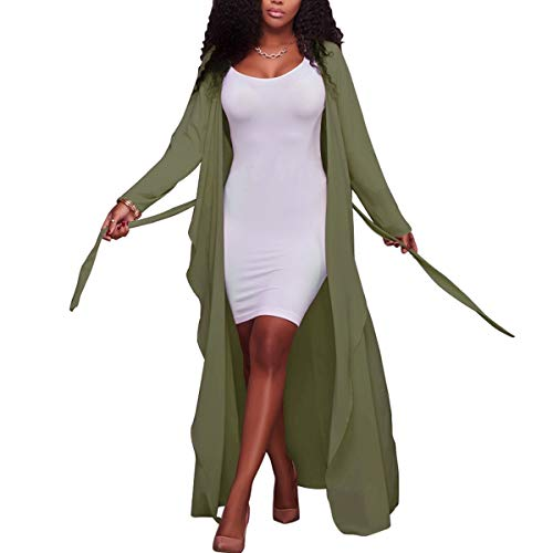 Manteau de Maxi Soie XL V Cardigan Tie Longues Sheer Outwear Neck Green en Size Pocket Mousseline Color Solid Manches 8AFzqwFn
