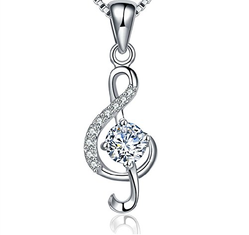 18' Sterling Chain Charm - S925 Sterling Silver Genuine Micro CZ Rhinestones 3D Music Note Charm Pendant Necklace 18''