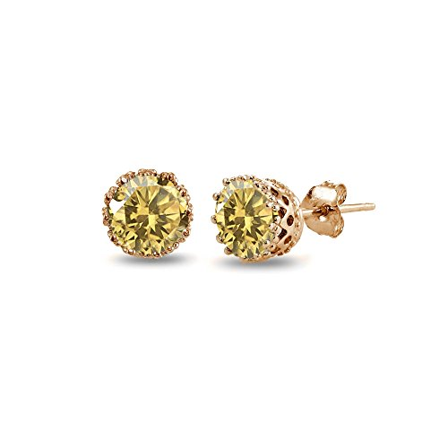 Rose Gold Flashed Sterling Silver Citrine Crown Stud Earrings
