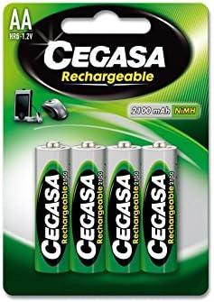 CEGASA Rechargeable - Pack 4 Pilas HR6 2100 mAh, Color Verde ...
