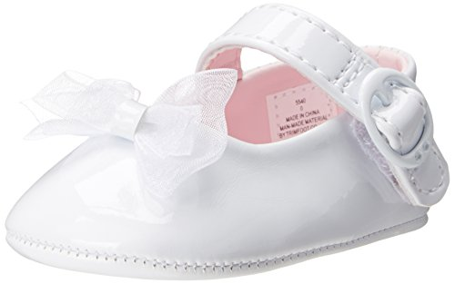 Baby Deer Patent SM With Bow Mary Jane (Infant),White,1 M US Infant