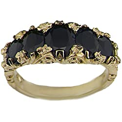 14k Yellow Gold Natural Sapphire Womens Band Ring - Sizes 4 to 12 Available