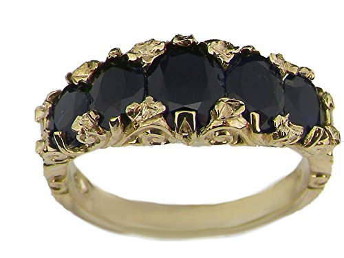 14k Yellow Gold Natural Sapphire Womens Band Ring - Sizes 4 to 12 Available (Sapphire 14k Natural Gold Yellow)
