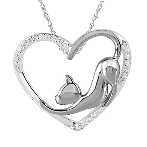 ♥Valentine's Day Gift♥Tender Voices 1/10cttw Diamond Cat Heart Pendant in Sterling Silver