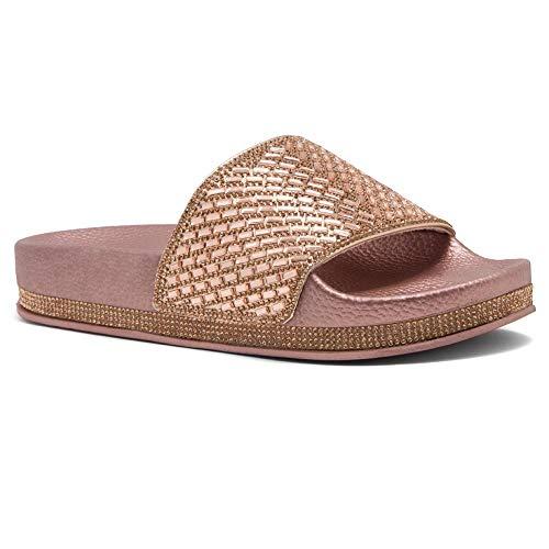 Shoe Land SL-Caterina-2 Womens Fashion Rhinestone Glitter Slide Slip On Mules Summer Shoe Platform Footbed Sandal Slippers Rose Gold 6.0