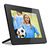 Aluratek 8 Inch Touchscreen WIFI Digital Photo Frame 8GB Memory with Built-in Clock, Calendar, Alarm, Weather