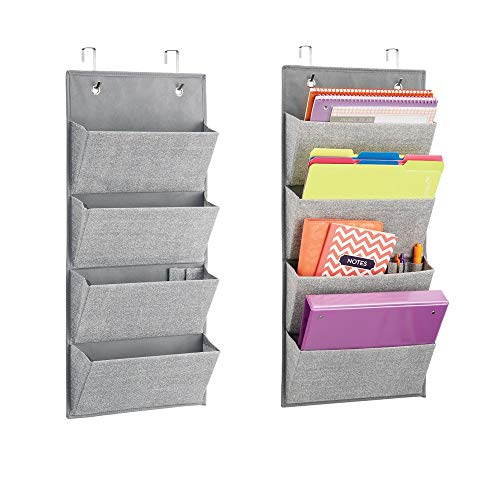mDesign Soft Fabric Wall Mount/Over Door Hanging Storage Organizer - 4 Large Cascading Pockets - Holds Office Supplies, Planners, File Folders, Notebooks - Textured Print, 2 Pack - - Pocket Hanger Four Set