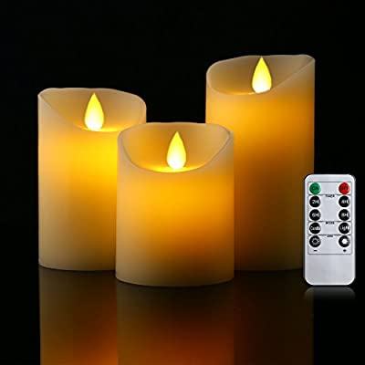 """Flameless Candles 4"""" 5"""" 6"""" Set of 3 Battery Operated Candles Flickering Flameless Candles 10-key Remote with 24-hour Function Timer Real Wax Pillar (Ivory White) Cefun"""
